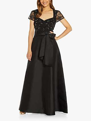Adrianna Papell Beaded Mesh Dress, Black
