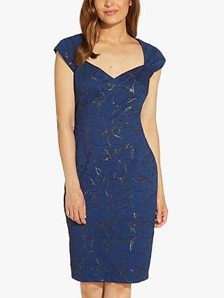 Adrianna Papell Lurex Jacquard Tailored Dress, Deep Ocean