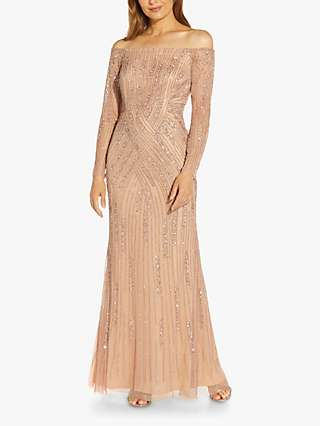 Adrianna Papell Beaded Off Shoulder Maxi Dress