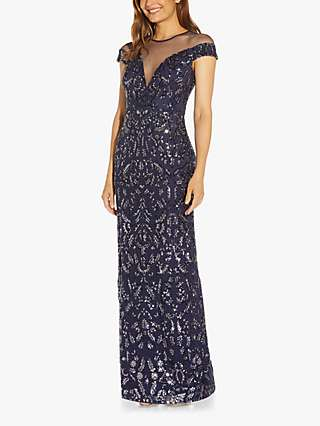 Adrianna Papell Sequin Floral Embellished Dress, Navy Night
