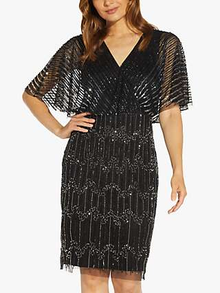 Adrianna Papell Linear Beaded Dress, Black/Gunmetal