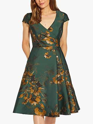 Adrianna Papell Floral Jacquard Fit and Flare Dress, Hunter