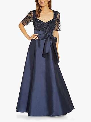 Adrianna Papell Taffeta Skirt Beaded Dress, Navy