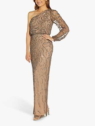 Adrianna Papell One Shoulder Long Beaded Dress, Nude/Lead