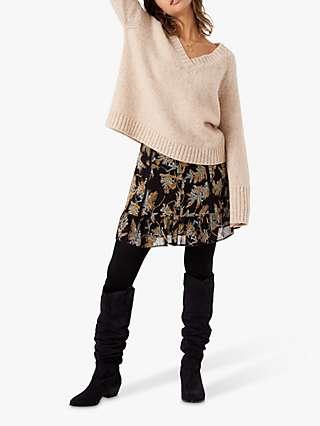 Brora Silk Folk Floral Print Skirt, Black/Multi
