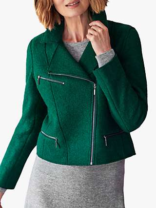 Pure Collection Boiled Wool Blend Biker Jacket, Forest Green