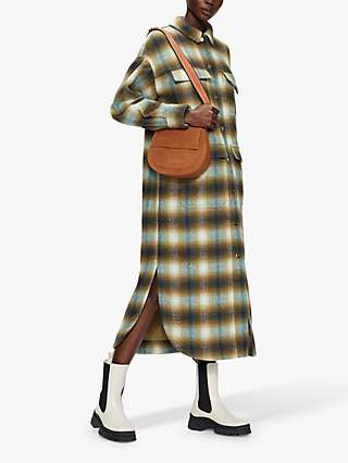 Ted Baker Louana Check Midi Shirt Dress, Mid Green