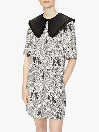 Ted Baker Oscala Cat Print Statement Collar Mini Dress, White/Black