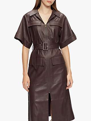Ted Baker Daryll Faux Leather Belted Dress, Dark Purple