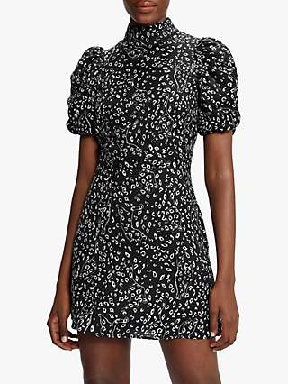 Ted Baker Raayy Animal Print Mini Dress, Black