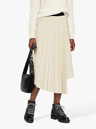 Ted Baker Viccii Pleated Asymmetric Midi Skirt, White