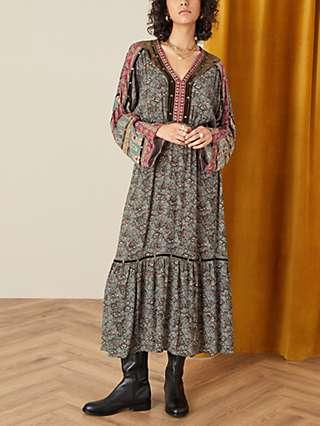 Monsoon Heritage Velvet Trim Midi Dress, Khaki