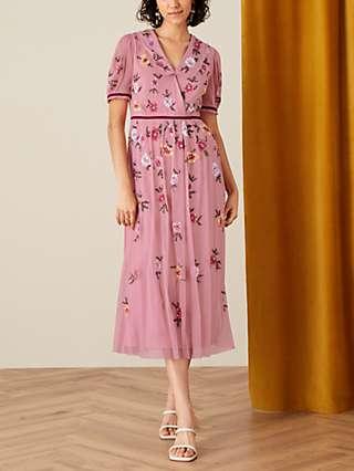 Monsoon Charlotte Sequin Embellishment Midi Dress, Pink