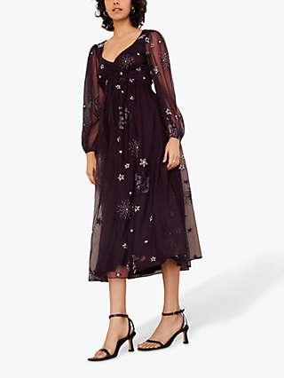 Monsoon Tia Star Embroidered Midi Dress, Plum