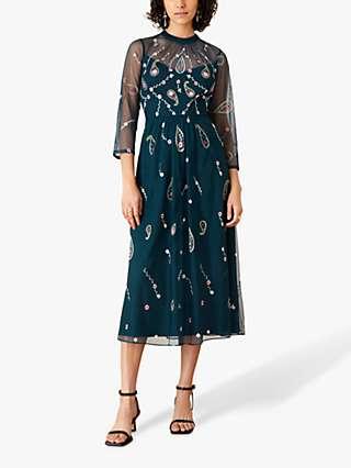 Monsoon Cleo Embroidered Midi Dress, Teal