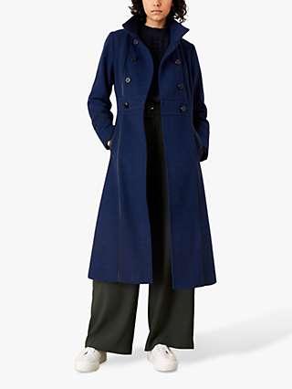 Monsoon Rosalee Tipped Trim Coat, Blue