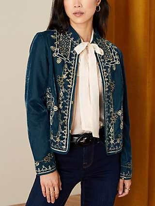 Monsoon Embroidered Velvet Jacket, Teal