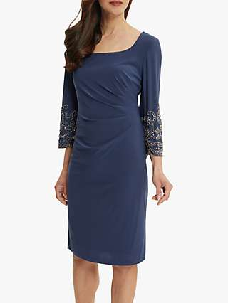 Gina Bacconi Lannie Bead Detail Jersey Dress, Petrol Blue