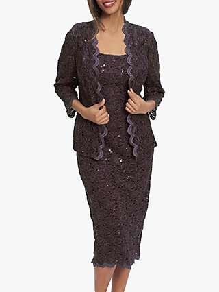 Gina Bacconi Kayla Lace Jacket And Dress, Eggplant