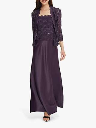 Gina Bacconi Aimee Embroidered Lace Jacket And Maxi Dress, Eggplant