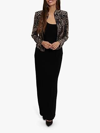 Gina Bacconi Marica Jacquard Jacket And Maxi Dress, Black/Taupe