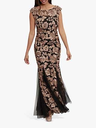 Gina Bacconi Nakita Floral Ribbon Tulle Maxi Dress, Black/Champagne