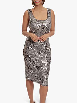 Gina Bacconi Winslet Sequin Lace Dress With Chiffon Jacket, Cappuccino