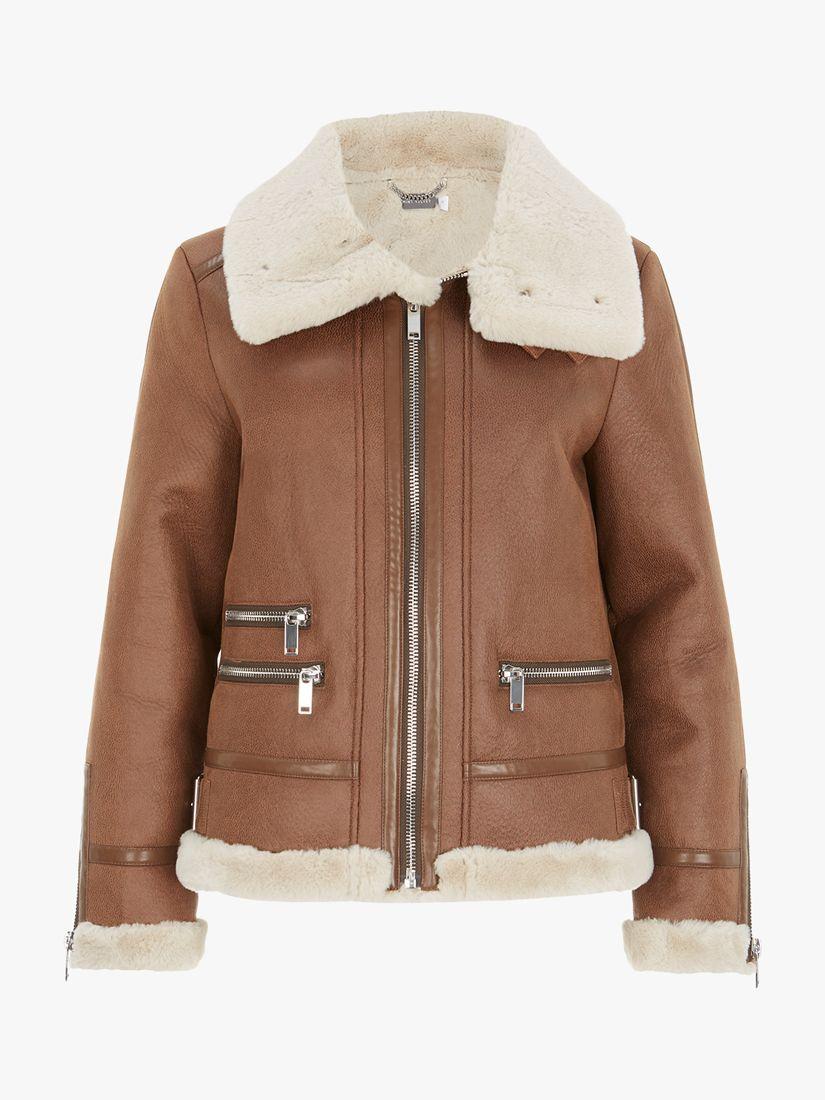 Mint Velvet Faux Fur Aviator Jacket, Brown/Multi