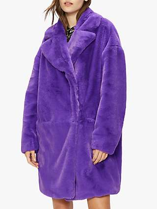 Ted Baker Vviolet Faux Fur Coat, Mid Purple