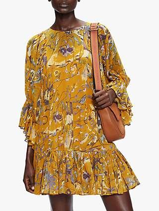 Ted Baker Melda Floral Print Mini Dress, Yellow