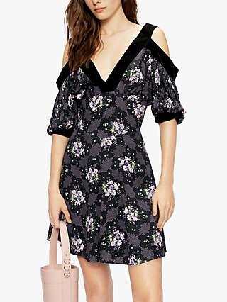 Ted Baker Leilia Floral Print Cold Shoulder Dress, Black