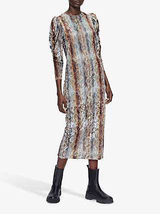Ted Baker Margeet Animal Print Midi Dress, Light Blue/Multi