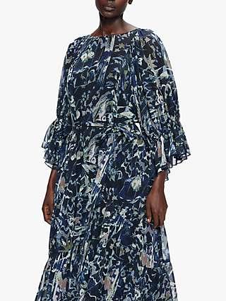 Ted Baker Firella Abstract Floral Print Maxi Dress, Navy/Multi