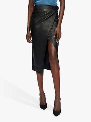 Ted Baker Rosene Leather Wrap Skirt, Black