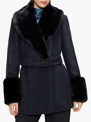 Ted Baker Llotie Faux Fur Trim Coat, Navy