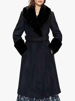 Ted Baker Llayyla Faux Fur Trim Coat, Navy