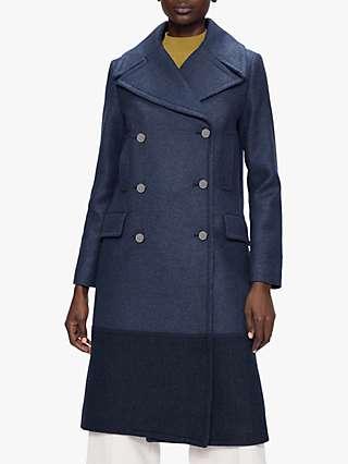 Ted Baker Hayyli Colour Block Coat, Navy