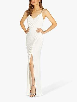 Adrianna Papell Jersey Draped Maxi Dress, Ivory