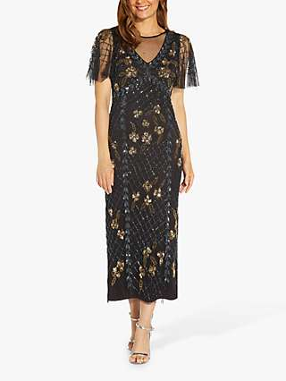 Adrianna Papell Flutter Sleeve Sequin Embroidery Midi Dress, Black/Gold