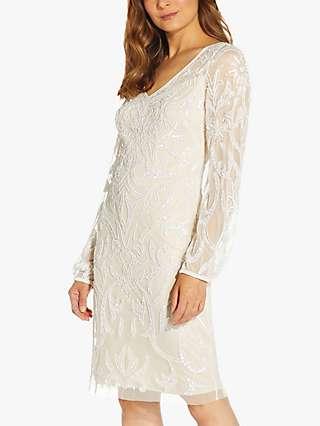 Adrianna Papell Beaded Long Sleeve Dress, Ivory/Pearl