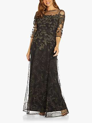 Adrianna Papell Embroidered Lace Maxi Dress, Black/Gold