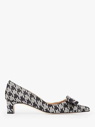 L.K.Bennett Vanessa Houndstooth Pointed Toe Court Shoes, Black/White