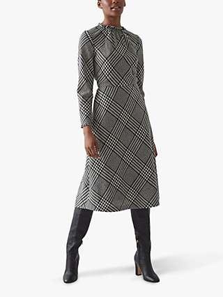 L.K.Bennett Katie Check Wool Blend Dress, Black/White