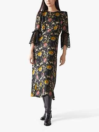 L.K.Bennett Agnes Floral Print Silk Midi Dress, Multi