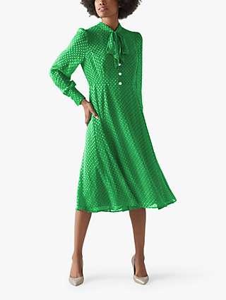 L.K.Bennett Mortimer Silk Blend Polka Dot Tea Dress, Green