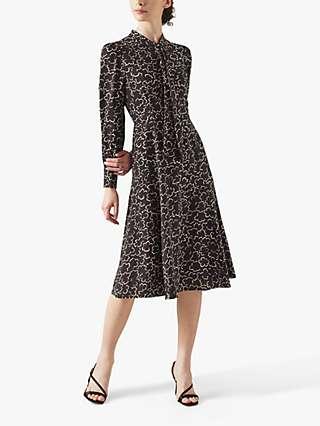 L.K.Bennett Mortimer Floral Print Tea Dress, Black/Cream