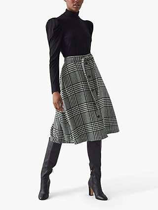 L.K.Bennett Katie Check Print Wool Blend Skirt, Black/White