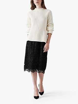 L.K.Bennett Lola Lace Skirt, Black