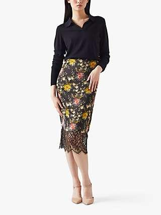 L.K.Bennett Agnes Floral Print Skirt, Multi