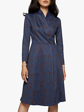 The Fold Hampton Floral Jacquard Dress, Blue